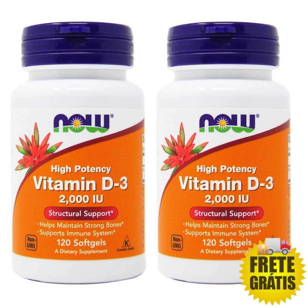 2 Potes Vitamina D3 NOW 2000 IU (120 +120 cápsulas)