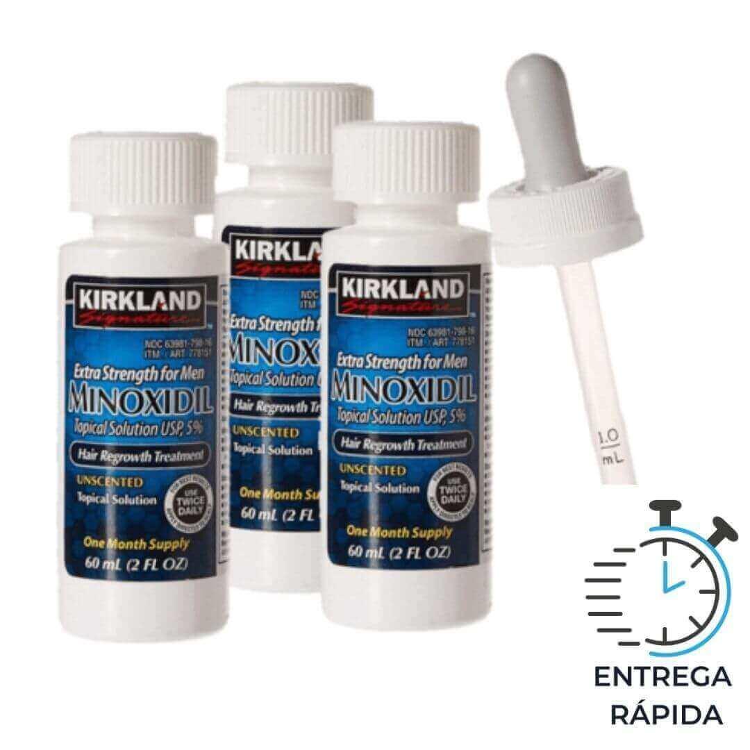 Minoxidil Kirkland 5% - 3 frascos para 3 meses