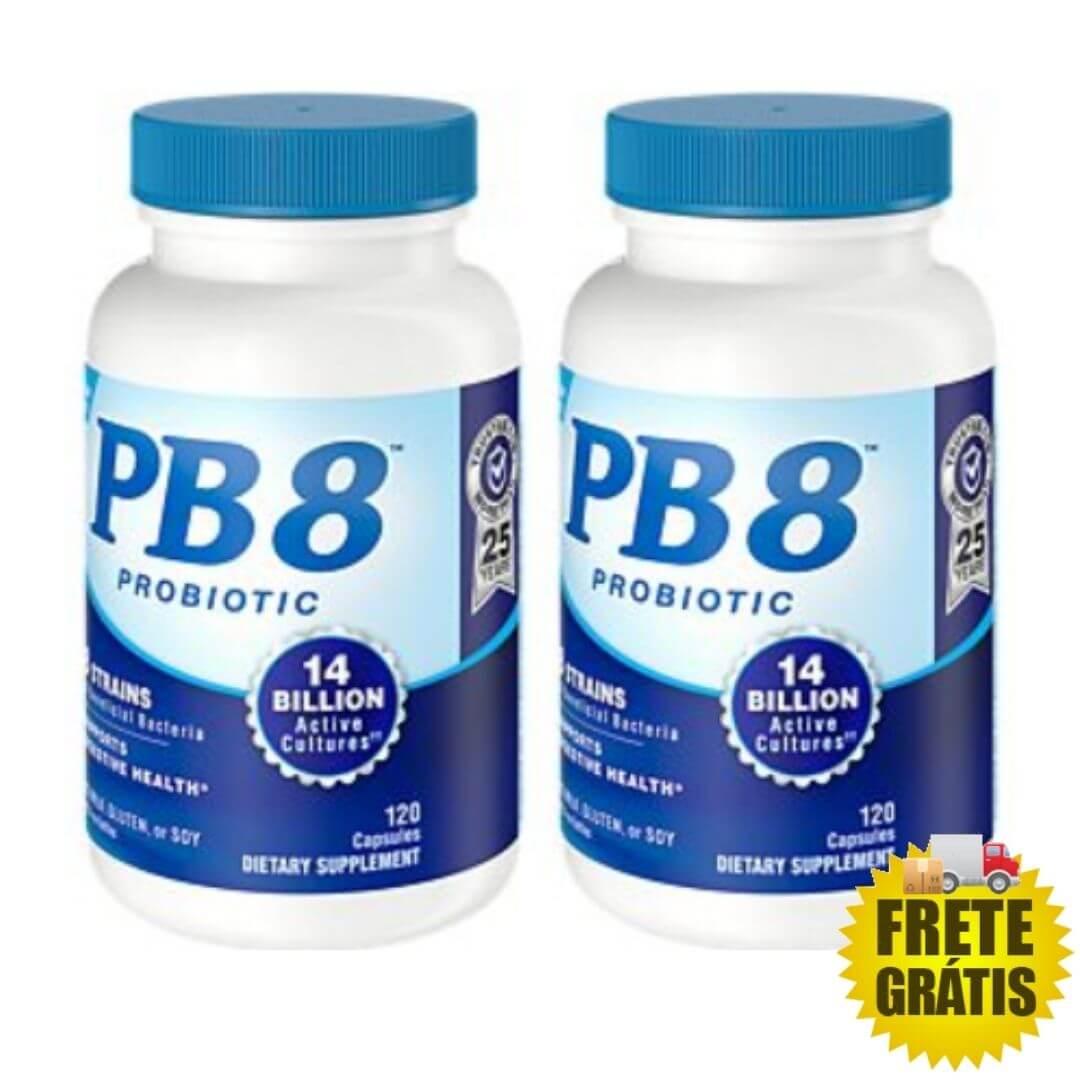 2 Potes Probiótico PB8 120 cápsulas (total 240 cápsulas)