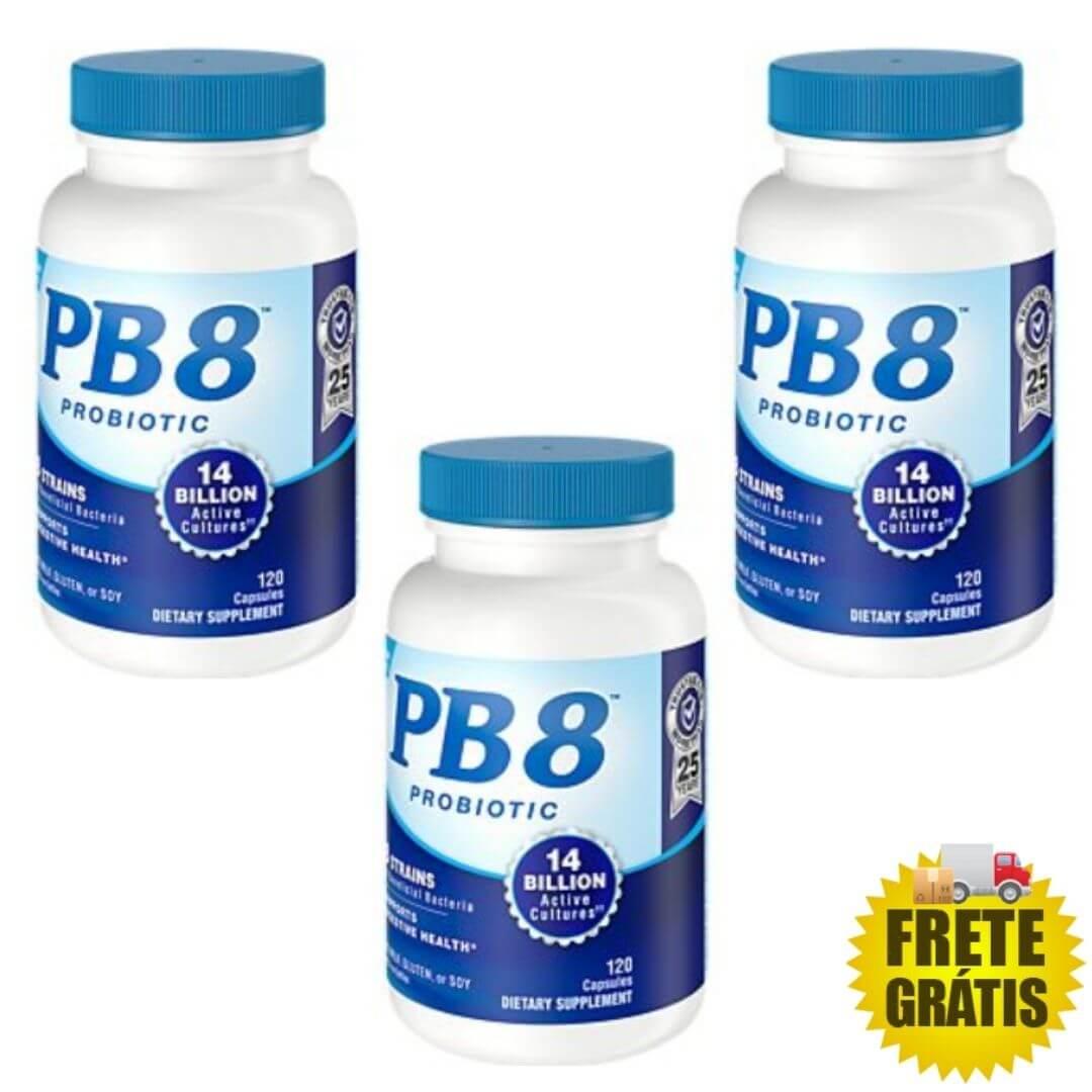 3 Potes Probiótico PB8 120 cápsulas (total 360 cápsulas)