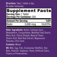 Biotina Natrol 5000mcg - 250 tabletes