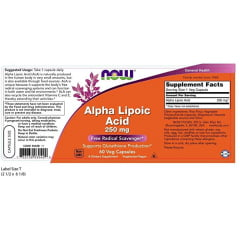 Ácido Alfa Lipóico 250mg Now Foods - 60 cápsulas
