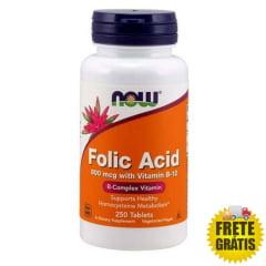 Ácido Fólico NOW com Vitamina B-12 - 800mcg - 250 cápsulas
