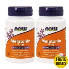 2 Potes Melatonina 5mg NOW - (60 + 60 cápsulas)