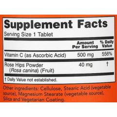 Vitamina C 500mg NOW Foods com Quadril de Rosa